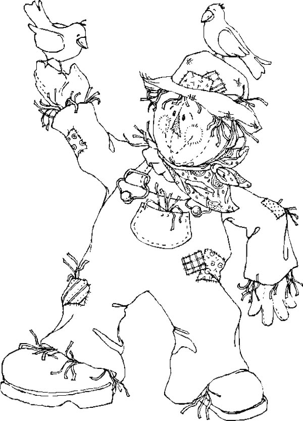 Autumn, : Scarecrow and Two Little Birds in Autumn Season Coloring Page