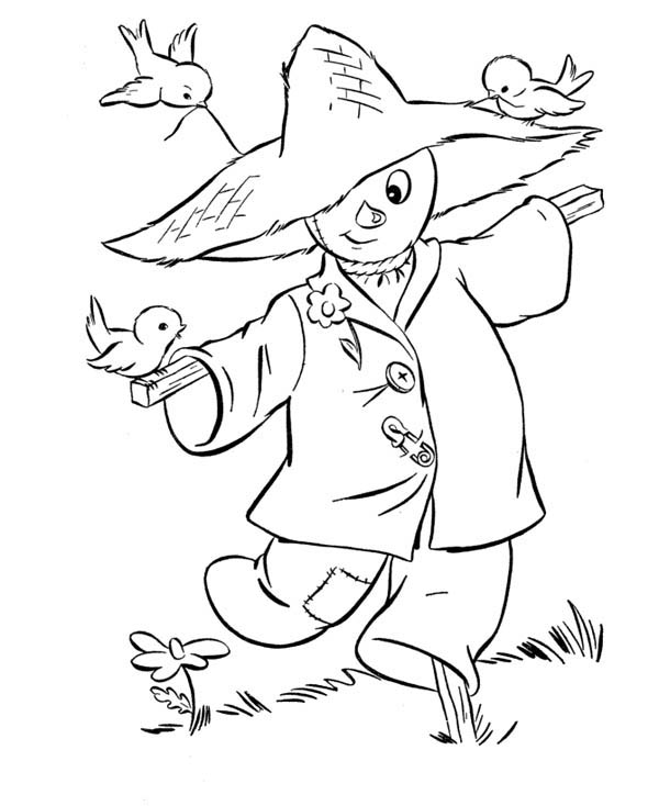 Autumn, : Scarecrow in Autumn Season Coloring Page
