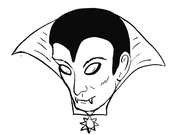 Vampire, : Scary Face of Vampire Coloring Page