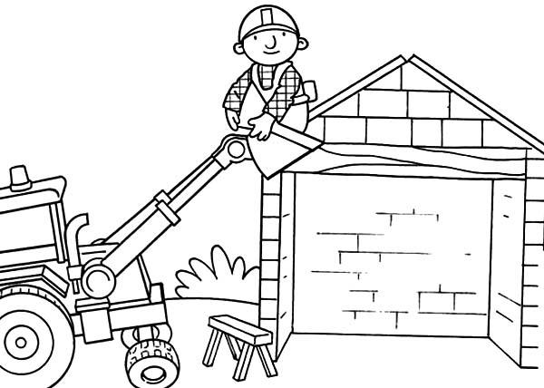 Bob the Builder, : Scoop Helps Bob to Go Up on the Roof in Bob the Builder Coloring Page