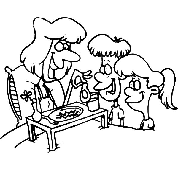 Breakfast, : Serving Breakfast for Sick Mother Coloring Page