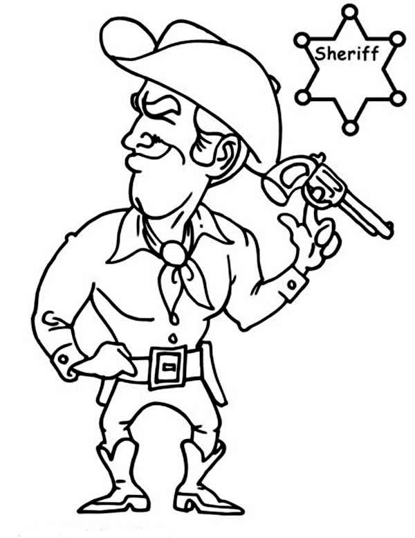 Cowboy, : Sheriff Cowboy Coloring Page