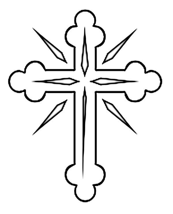 Cross, : Shining Cross Coloring Page
