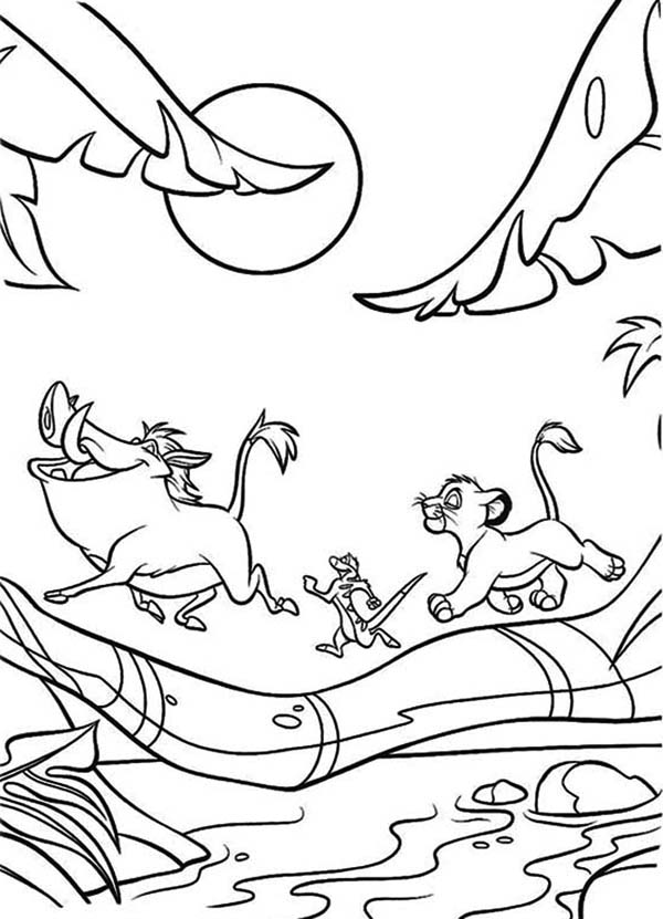 Timon and Pumbaa, : Simba and Timon and Pumbaa Wander Around the Jungle Coloring Page