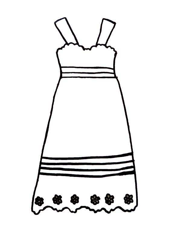 Dress, : Simple Model of Dress Coloring Page