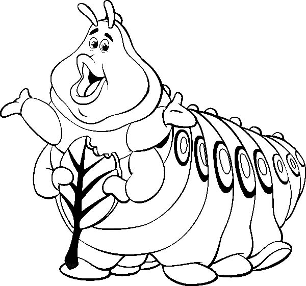 Bugs, : Singing Caterpillar  in Species of Bugs Coloring Page
