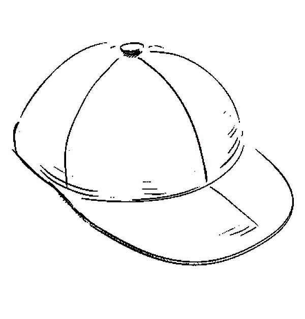Baseball Cap, : Sketch of Baseball Cap Coloring Page