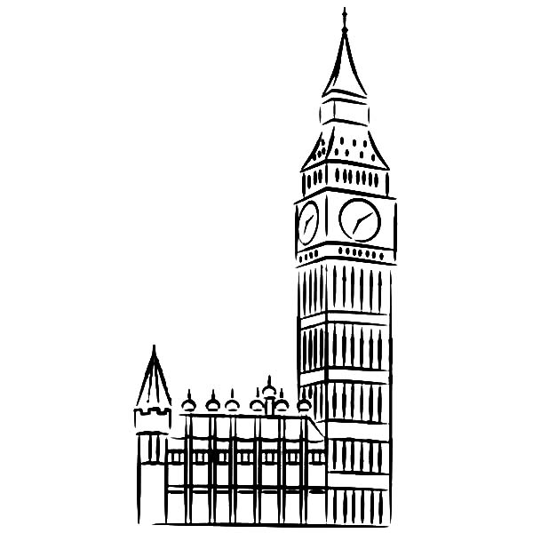 Big Ben, : Sketch of Big Ben Clock Tower Coloring Page