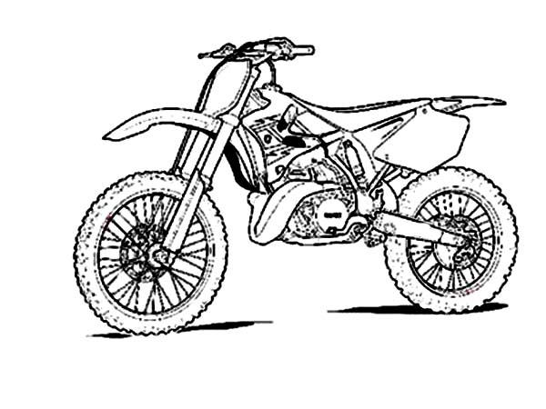 Dirt Bike, : Sketch of Dirt Bike Coloring Page