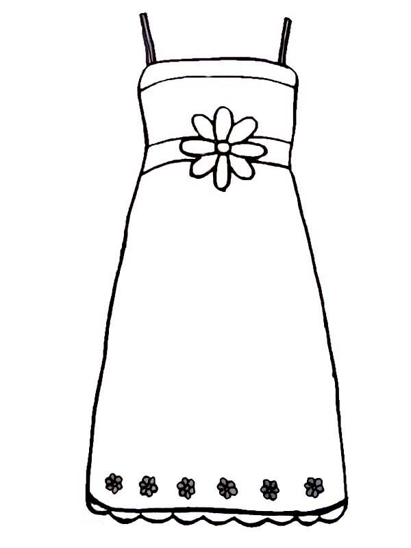 Dress, : Sleeveless Dress Coloring Page