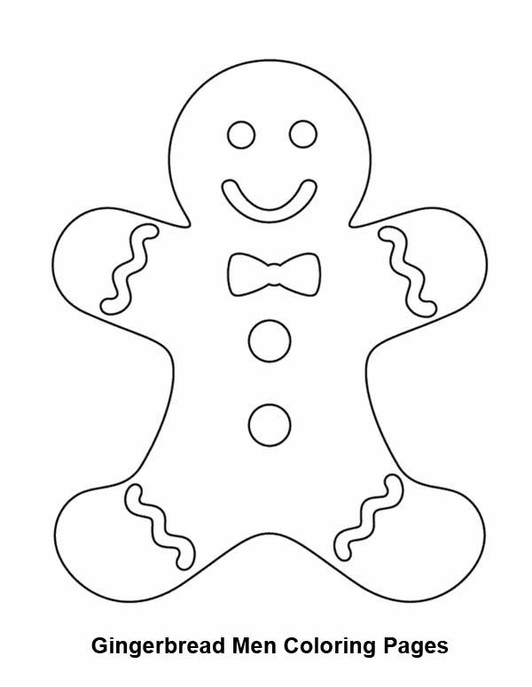 Gingerbread Men, : Smiling Gingerbread Men Coloring Page
