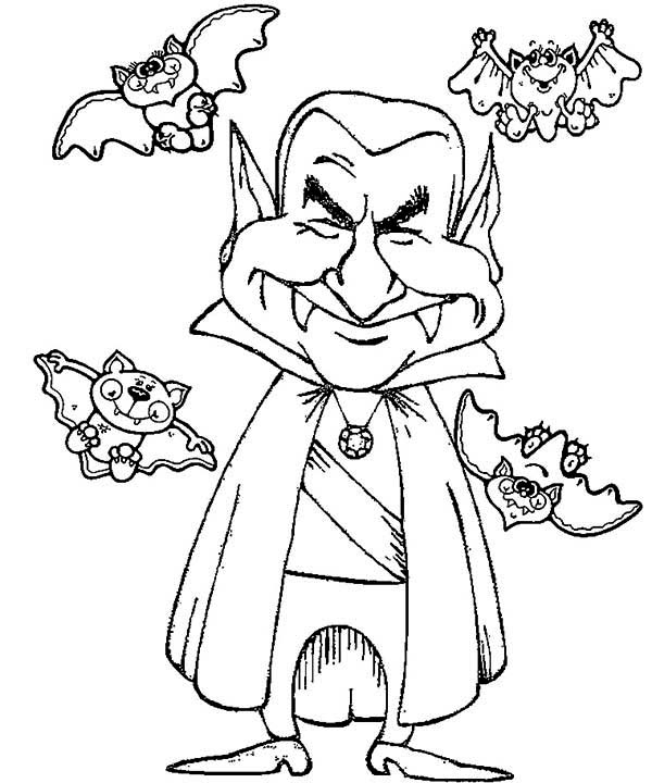 Vampire, : Smiling Vampire with Four Bats Coloring Page
