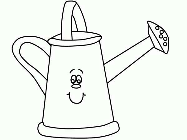 Watering Can, : Smiling Watering Can Coloring Page