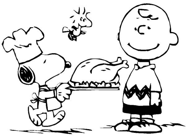 Charlie Brown, : Snoopy Cook Chicken for Charlie Brown Coloring Page