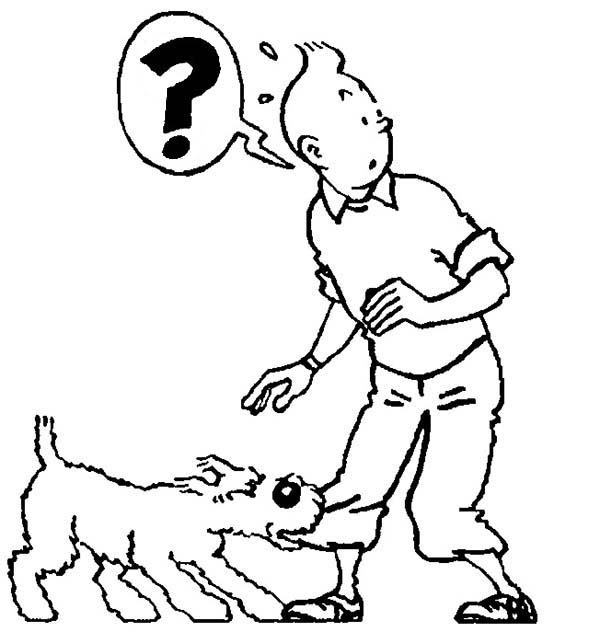 Tintin, : Snowy Bite Tintins Pants in the Adventures of Tintin Coloring Page