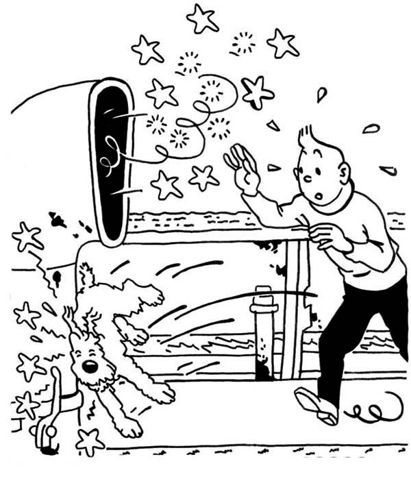 Tintin, : Snowy Hit Vessel Chimney in the Adventures of Tintin Coloring Page