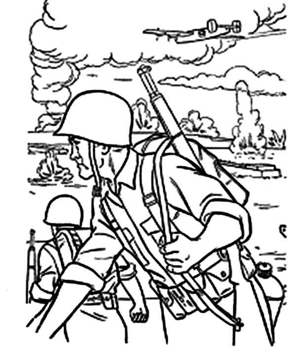 Armed Forces Day, : Soldier in the Battle Field in Armed Forces Day Coloring Page