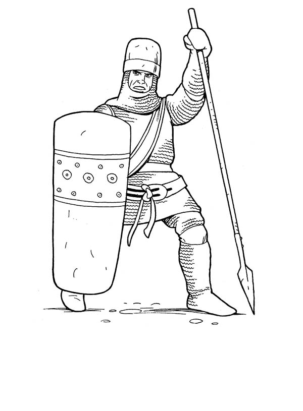 Armor of God, : Soldiers and Knights in Armor of God Coloring Page