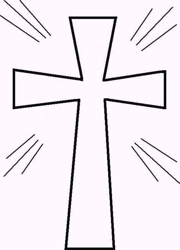 Cross, : Sparkling Light Cross Coloring Page