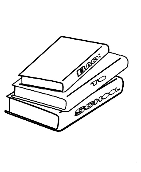 Books, : Stack of Book Coloring Page