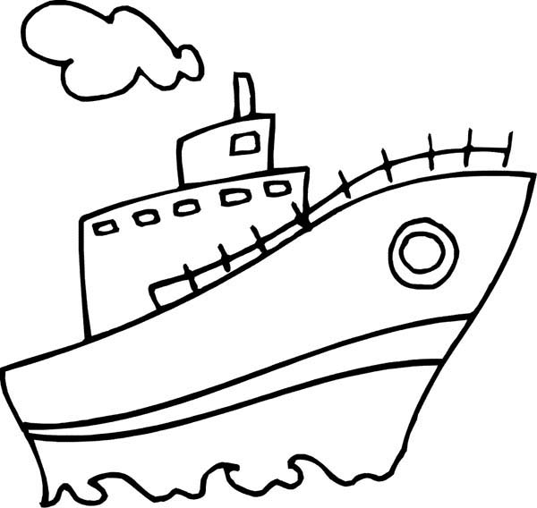 Boat, : Steam Boat Coloring Page