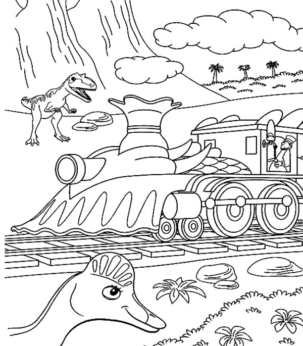 Dinosaurus Train, : Steam Locomotive in Dinosaurus Train Coloring Page
