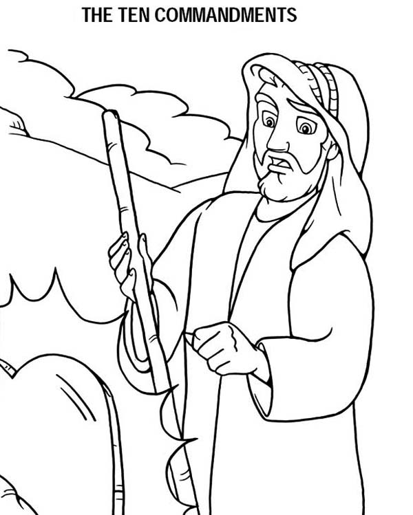 Ten Commandments, : Stone Tablets about Ten Commandments in Front of Moses Coloring Page