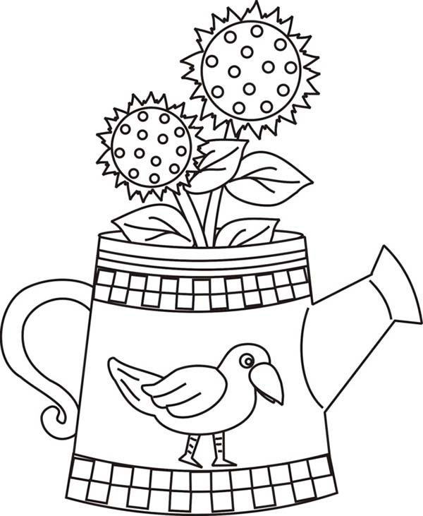 Watering Can, : Sunflower and Watering Can Coloring Page