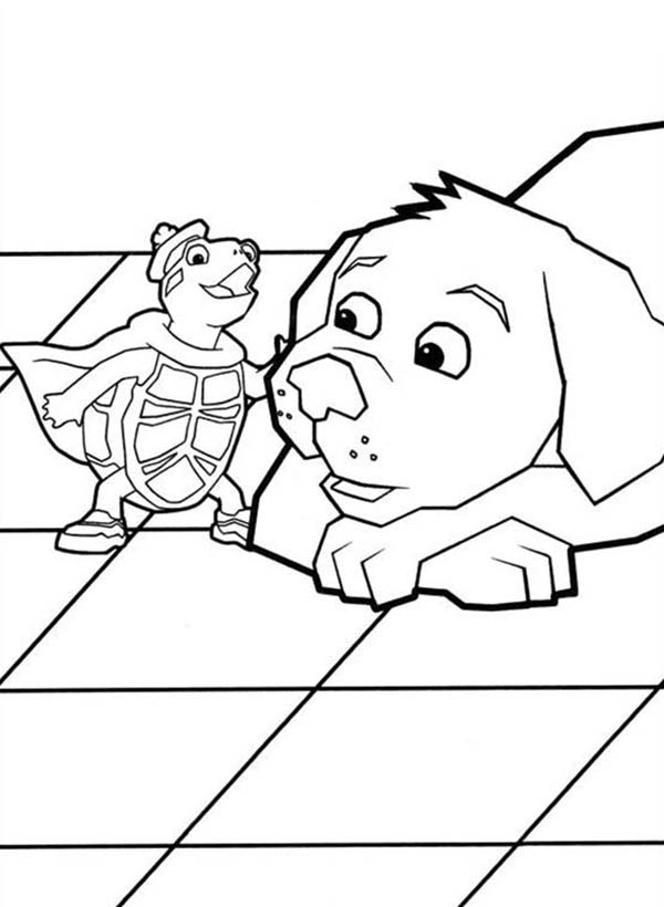The Wonder Pets, : Super Turtle Tuck Tell a Story to a Dog in Wonder Pets Coloring Page
