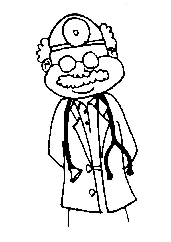 Doctor, : Surgeon Doctor Coloring Page for Kids