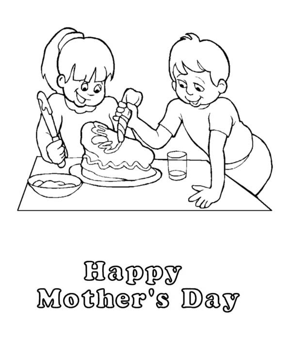 Mothers Day, : Surprise Cake for Mom on Mothers Day Coloring Page