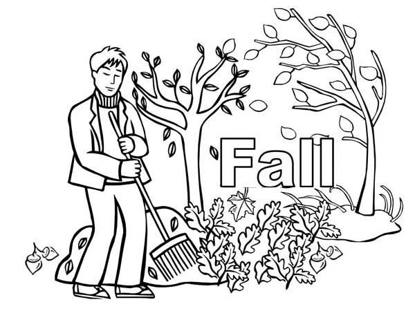 Autumn, : Sweep in the Autumn Leaves Coloring Page