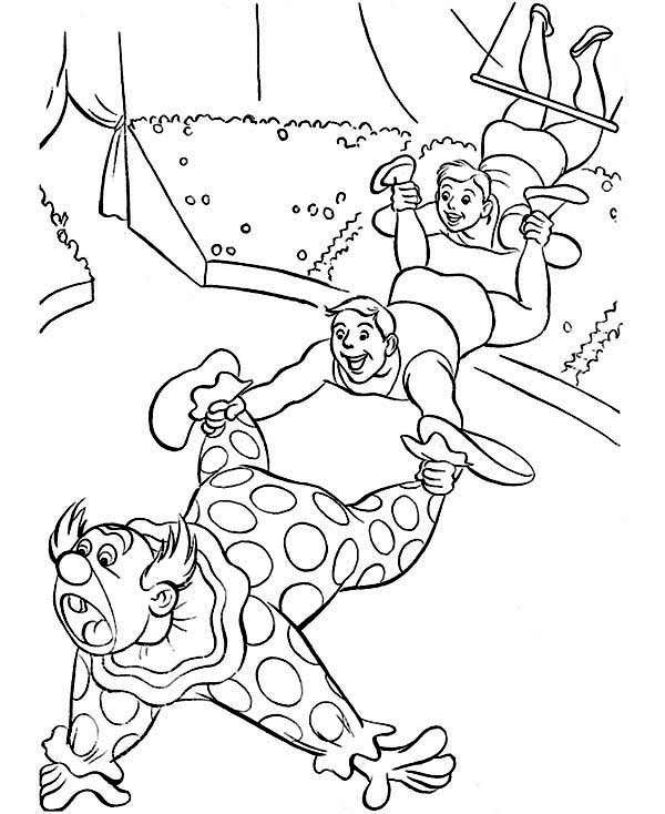 Circus, : Swing Circus Show Coloring Page