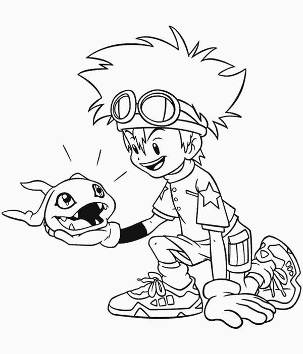 Digimon, : Taichi Kamiya and His Digimon Agumon Coloring Page