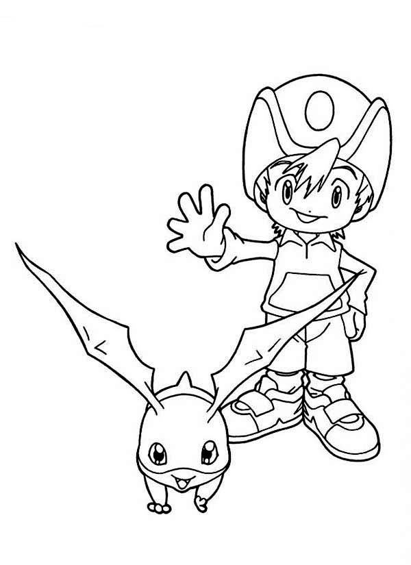 Digimon, : Takeru Takaishi and His Digimon Patamon Coloring Page