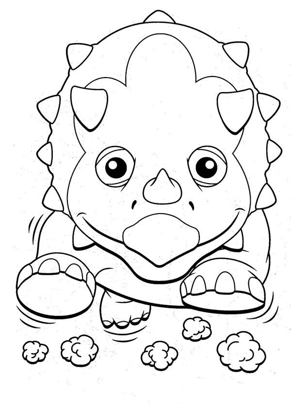 Dinosaurus Train, : Tank the Triceratops Running Wildly in Dinosaurus Train Coloring Page