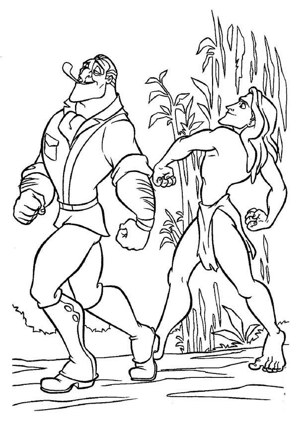 Tarzan, : Tarzan Copying the Way Clayton the Animal Hunter Walk Coloring Page