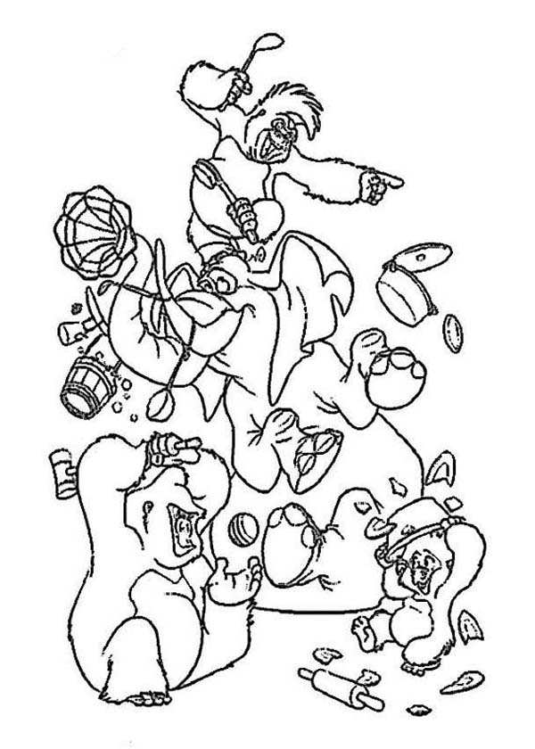 Tarzan, : Tarzan Friends Make a Mess Coloring Page