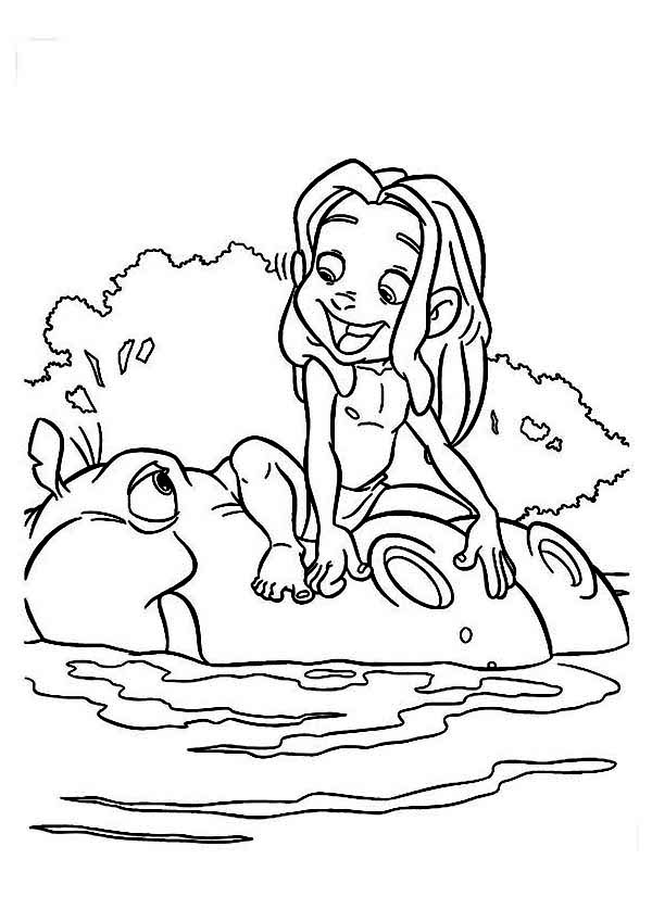Tarzan, : Tarzan Play on the River with Big Hippo Coloring Page