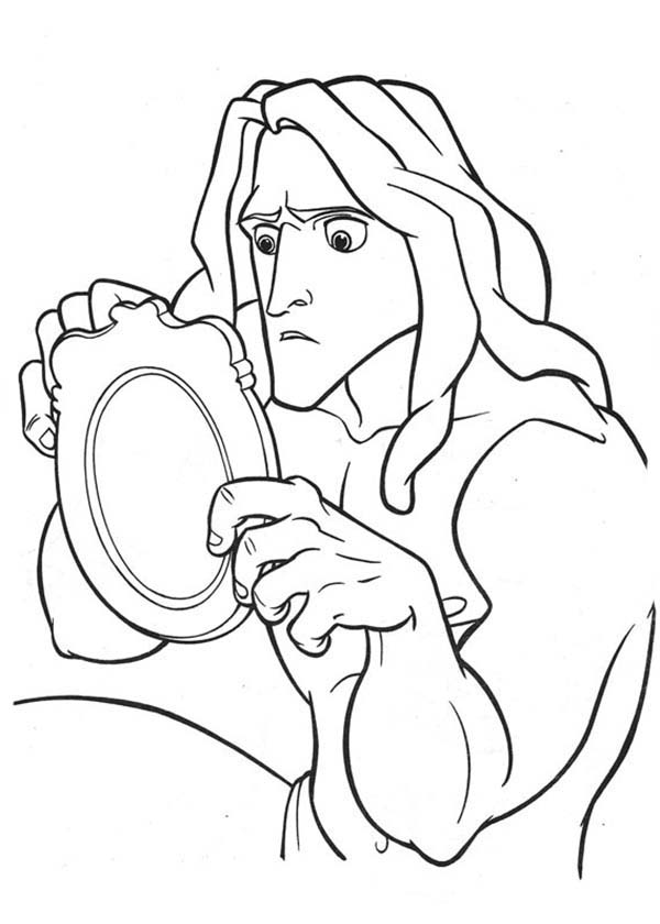 Tarzan, : Tarzan is Amazed with Janes Mirror Coloring Page