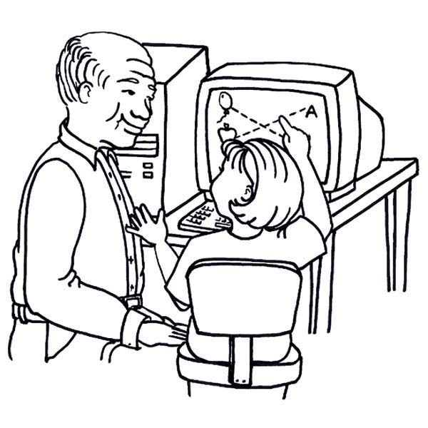 Computer, : Teacher Teach a Kid to Use Computer Coloring Page