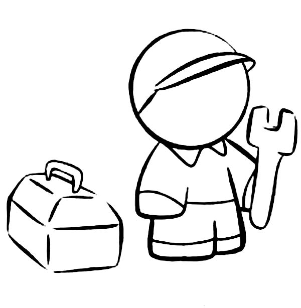 Box, : Technician with His Tool Box Coloring Page