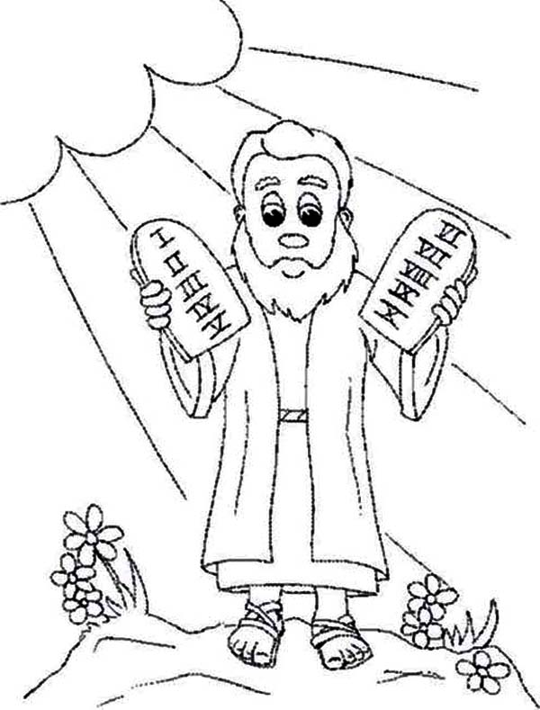 Ten Commandments, : Ten Commandments Coloring Page for Kids