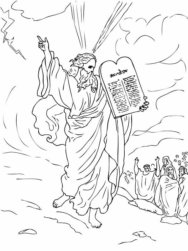 Ten Commandments, : Ten Commandments for Moses People Coloring Page