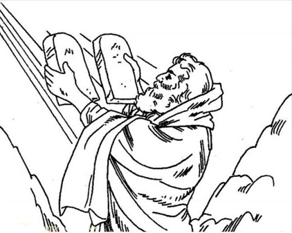 Ten Commandments, : Ten Commandments for Moses and His Followers Coloring Page