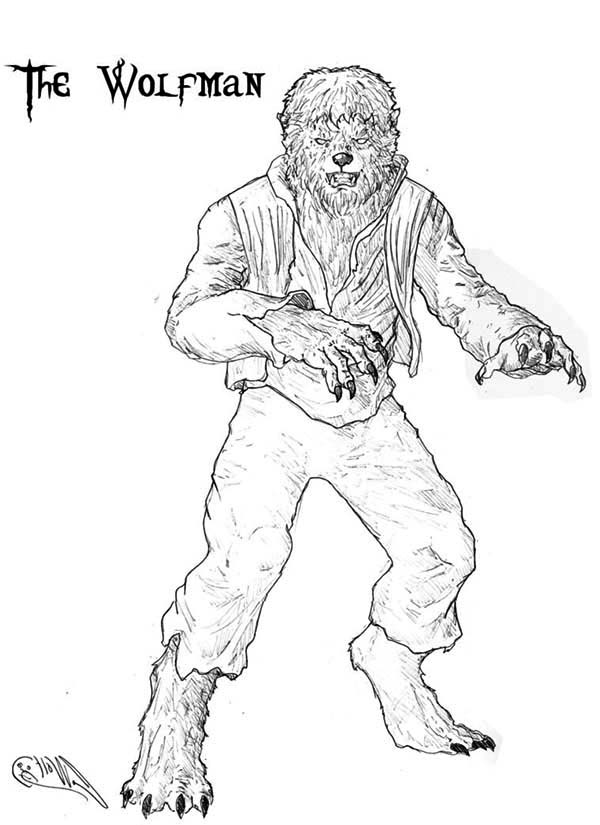 Werewolf, : Terrifying Werewolf Coloring Page