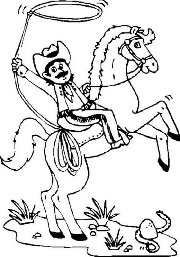 Cowboy, : Texas Cowboy with Mustache Coloring Page