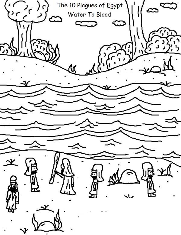 10 Plagues of Egypt, : The 10 Plagues of Egypt Water To Blood Coloring Pages