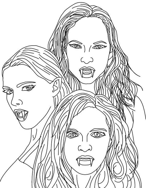 Vampire, : The 3 Empusa Mythical Vampires Coloring Page