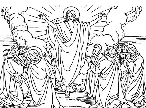 Disciples, : The Ascension Coloring Book PageFree to Use for Personal use